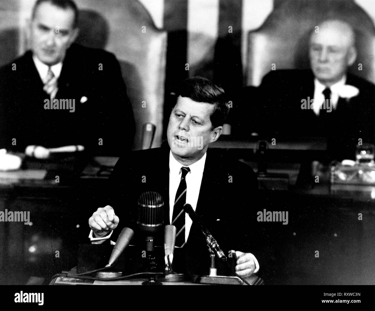 President John F. Kennedy in his historic message to a joint session of the Congress, on May 25, 1961 declared, '...I believe this nation should commit itself to achieving the goal, before this decade is out, of landing a man on the Moon and returning him safely to the Earth.' May 25, 1961 - Stock Image