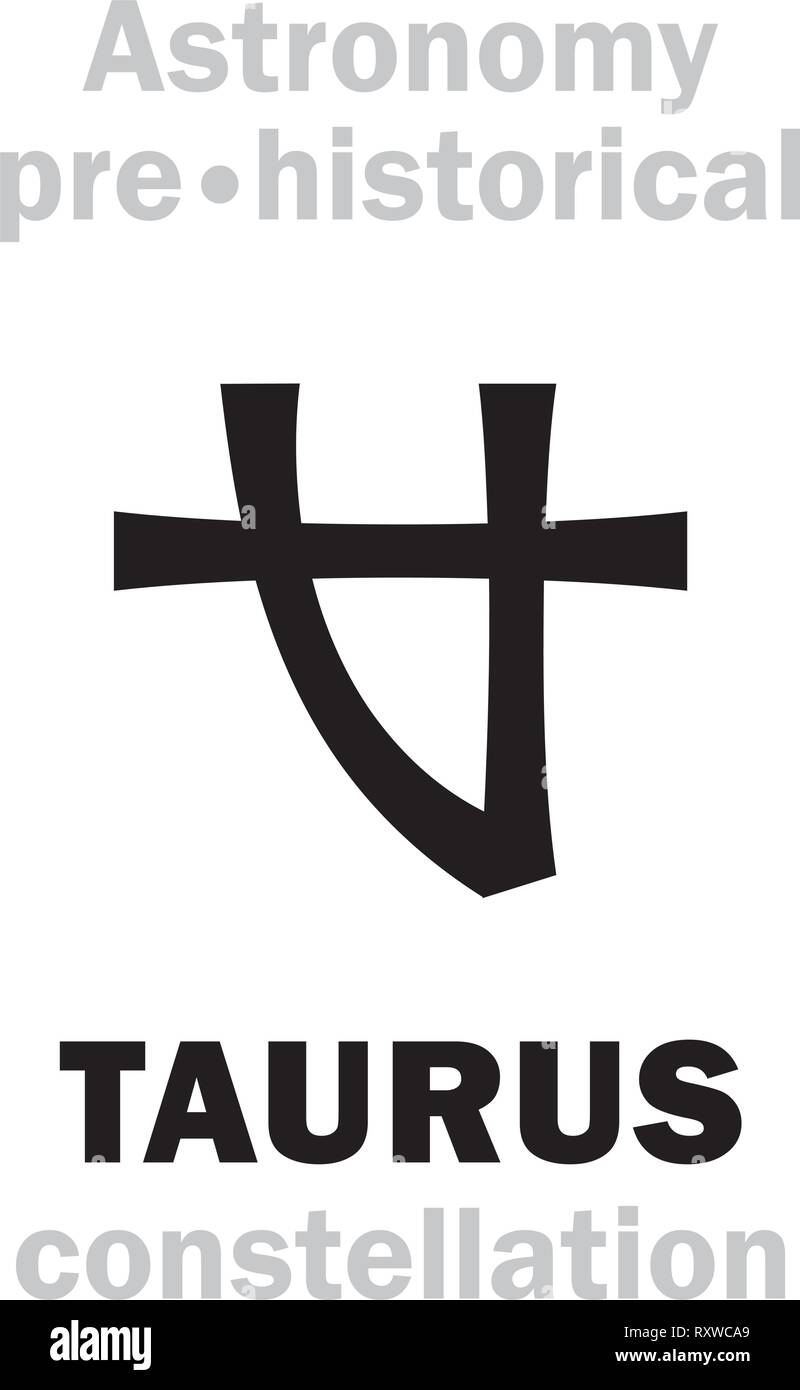 Astrology Alphabet: TAURUS (The Divine Bull / The Plougher), one of the three Ancient pre-historical Neolithic constellations. Hieroglyphic symbol. Stock Vector