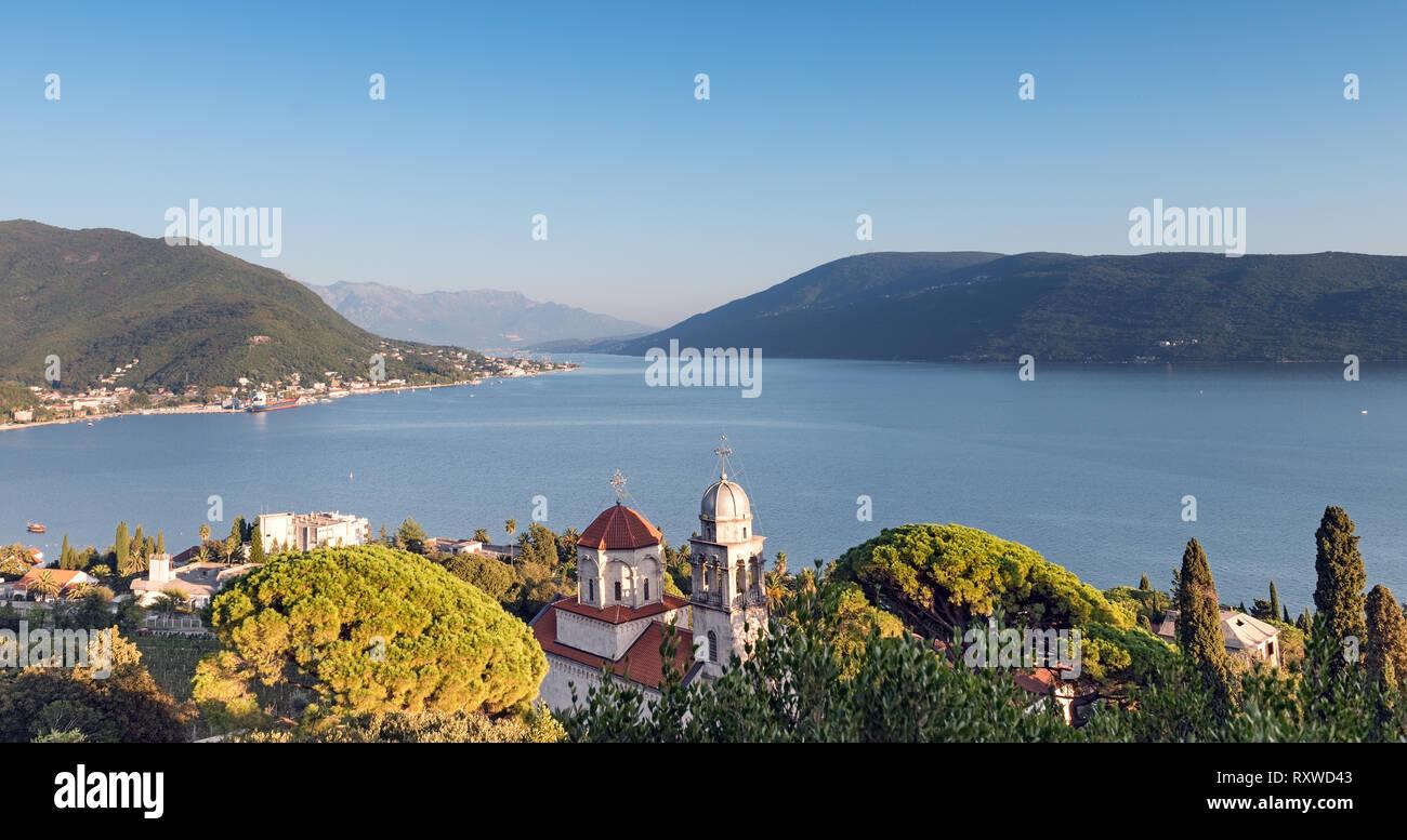 Mediterranean landscape on sunset. Montenegro, Adriatic Sea, Bay of Kotor, Savina monastery Stock Photo