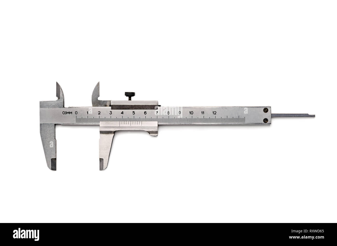 Caliper precision measurement vernier  isolated with clipping path - Stock Image