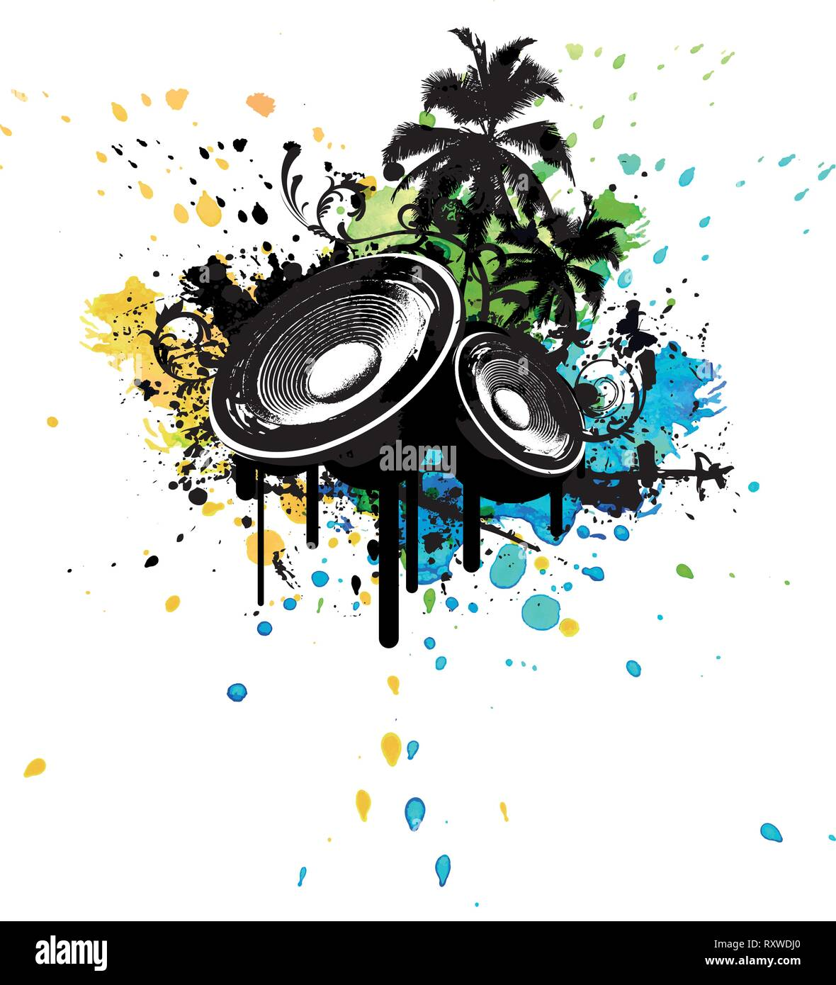 Grunge Party Box in Stereo poster with palms and watercolor splashing in the background Stock Vector