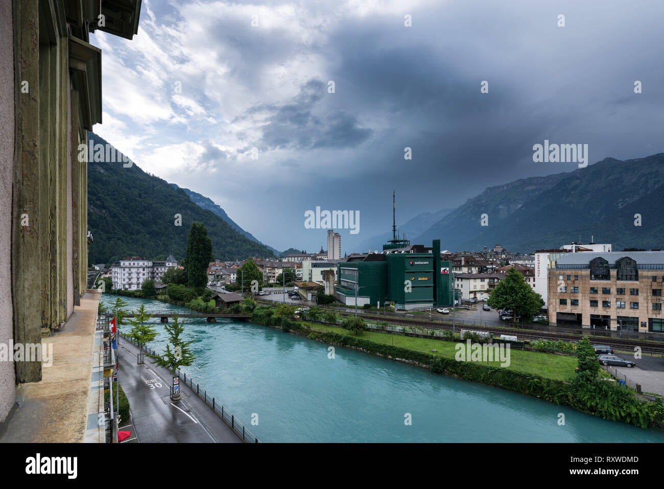 Rainy day in Interlaken, Switzerland - Stock Image