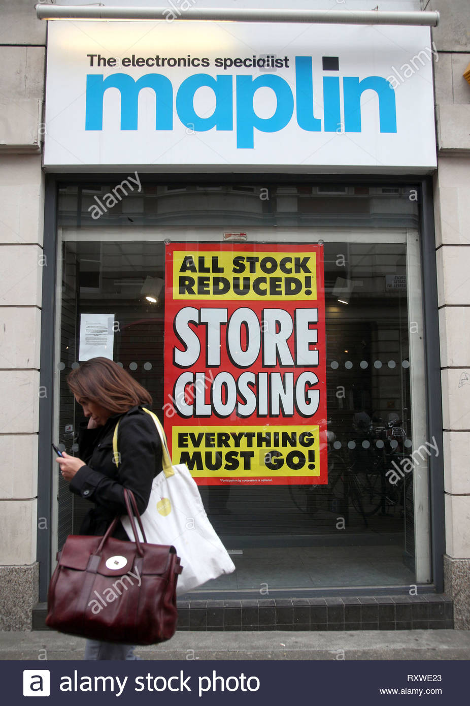 File photo dated 29/5/2018 of a Maplin store, in its last few weeks of trading, in central London. Two of last year???s high street casualties have come back from the dead to relaunch online, the Press Association can reveal. - Stock Image