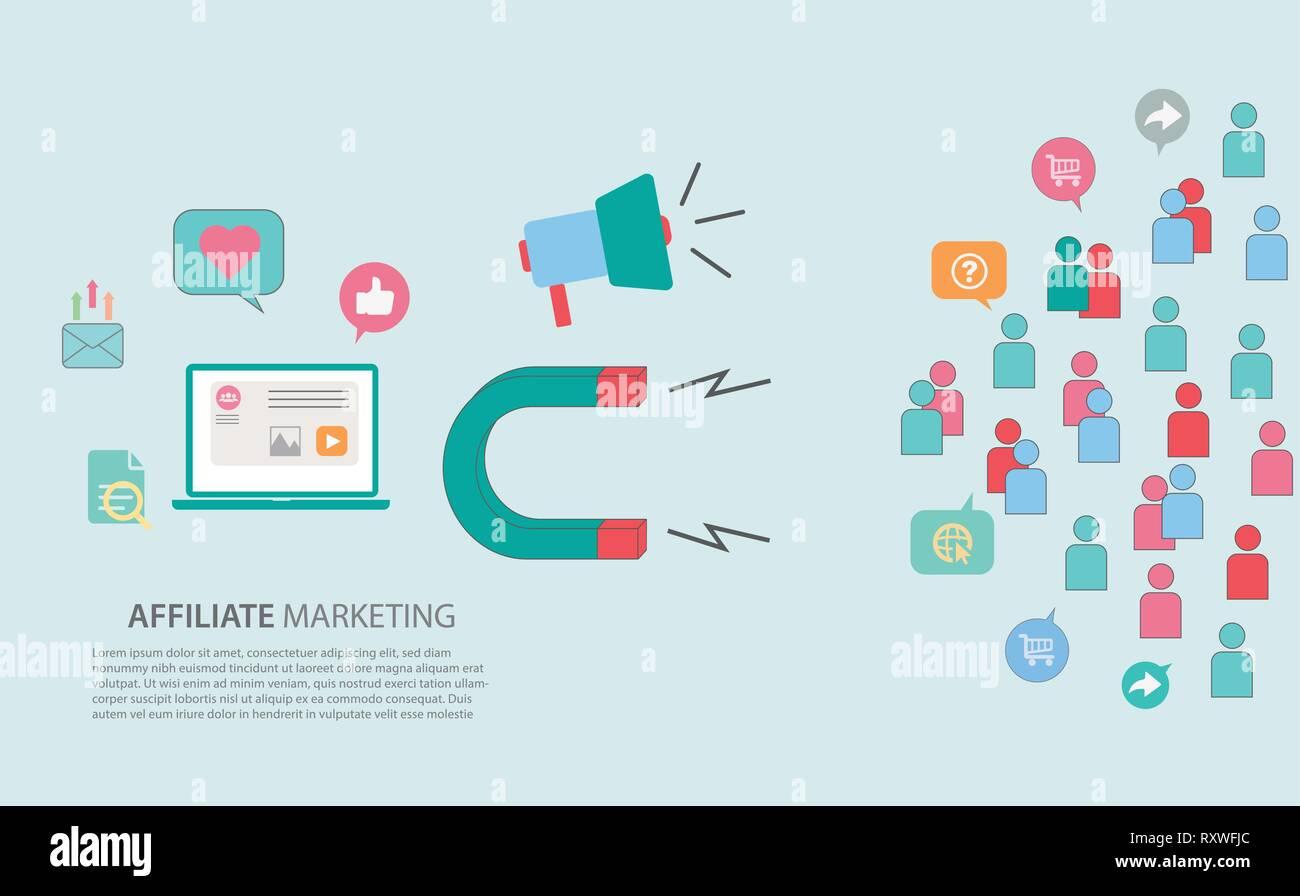 Affiliate - Inbound Marketing Strategy Concept Web Header Banner - Stock Image
