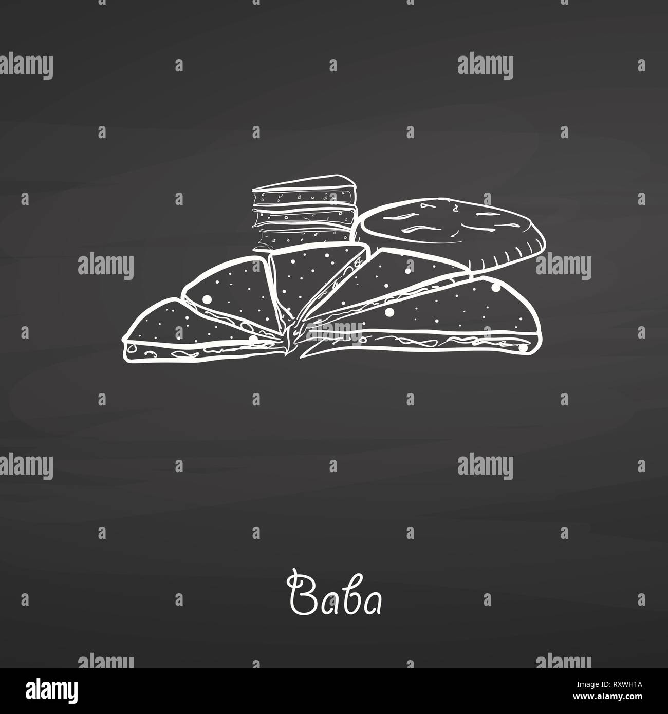 Baba food sketch on chalkboard. Vector drawing of Various thick, round breads, usually known in China, Yunnan, naxi, people. Food illustration series. - Stock Vector