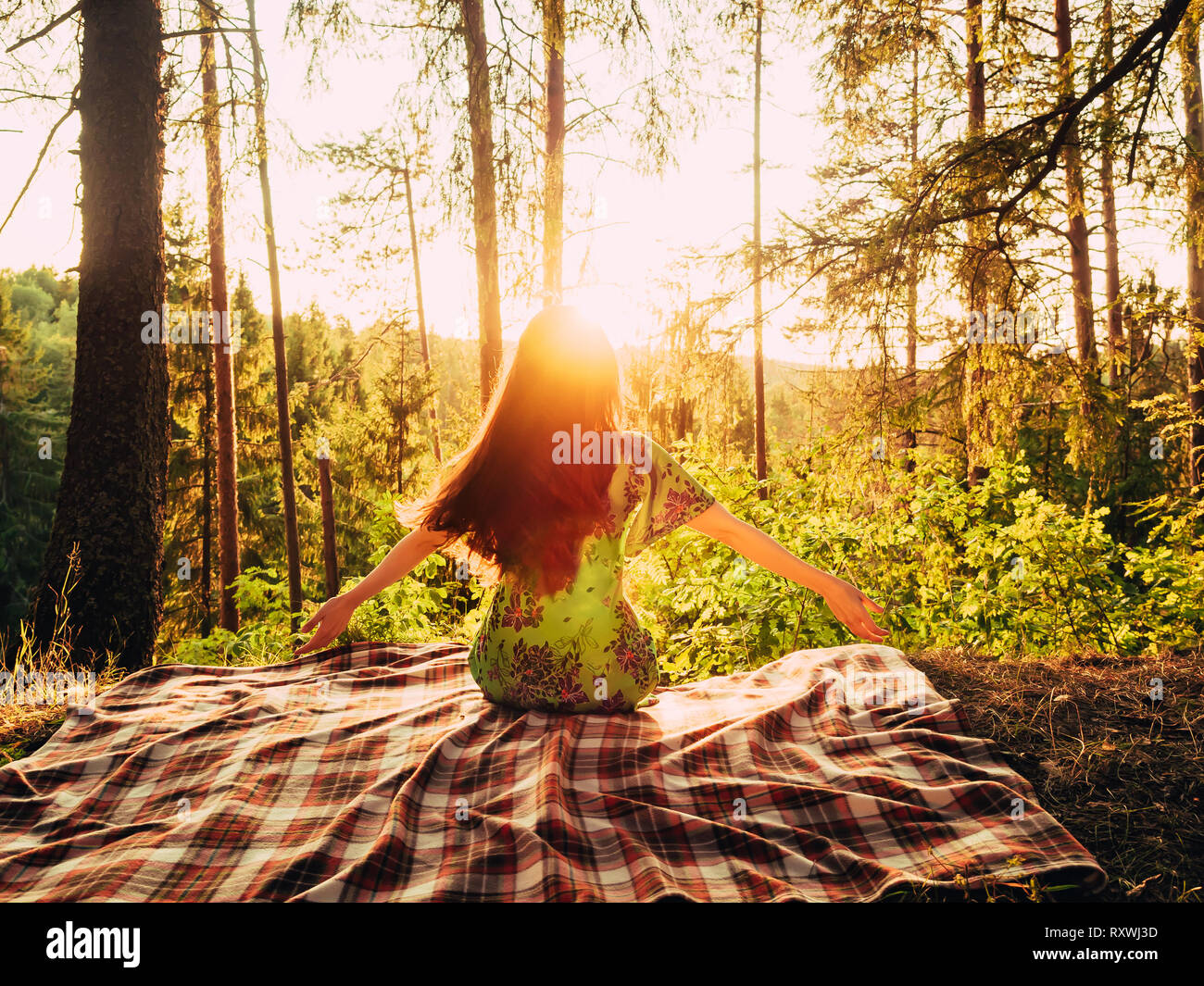 Girl Enjoying In The Nature With Arms Wide Open Happy Young Woman Taking Deep Breath In The Forest Free Happy Woman Enjoying Nature Beauty Girl Stock Photo Alamy