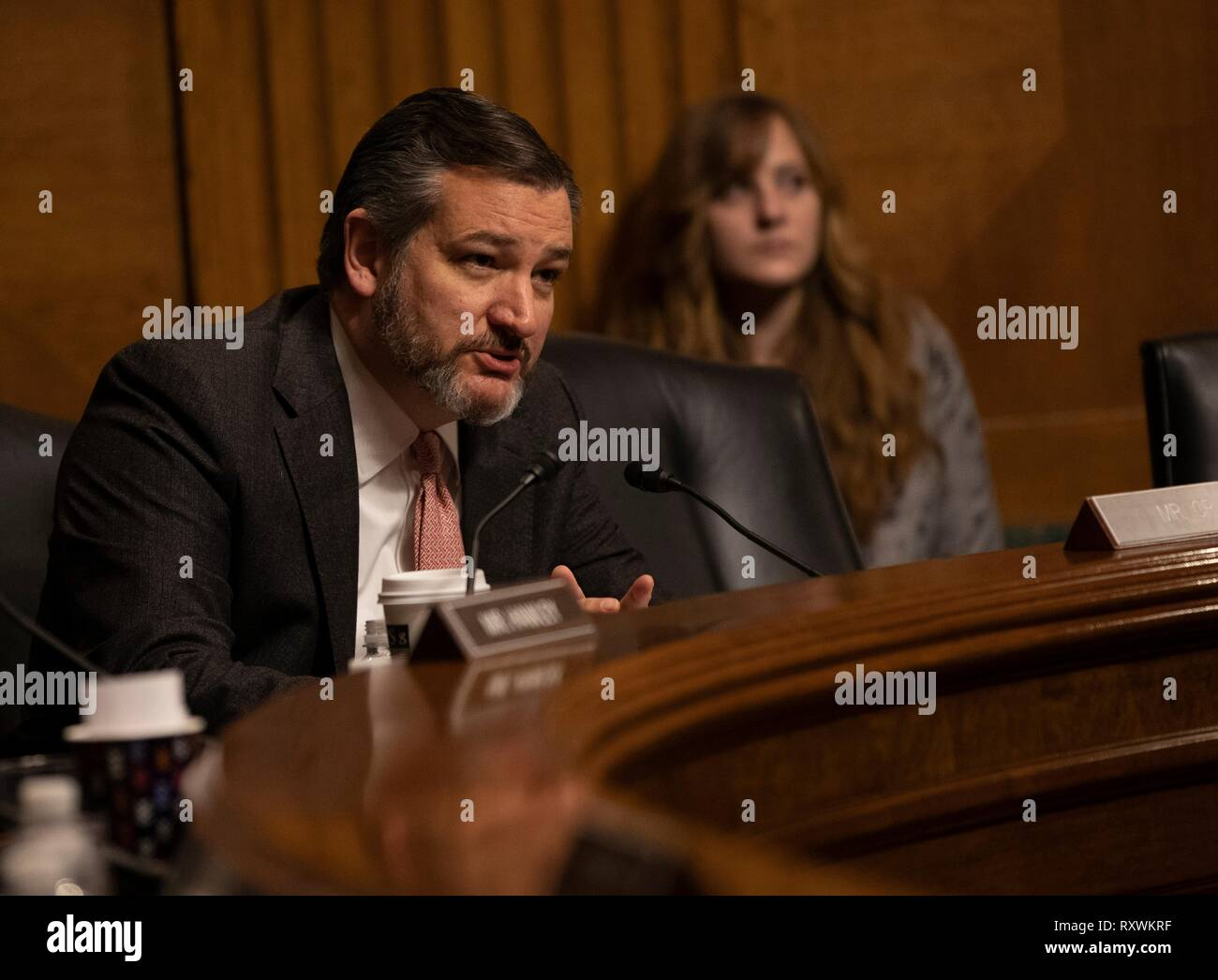 U.S. Senator Ted Cruz of Texas, questions Customs and Border Protection Commissioner Kevin McAleenan during a hearing at the Senate Judiciary Committee on Capitol Hill March 5, 2019 in Washington, D.C. The hearing was on the Oversight of Customs and Border Protection Response to the Smuggling of Persons at the Southern Border. - Stock Image