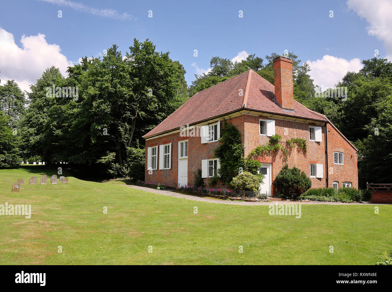 Quaker Burial Ground and meeting house in Jordans, England, showing the Graves of William Penn and his Family - Stock Image