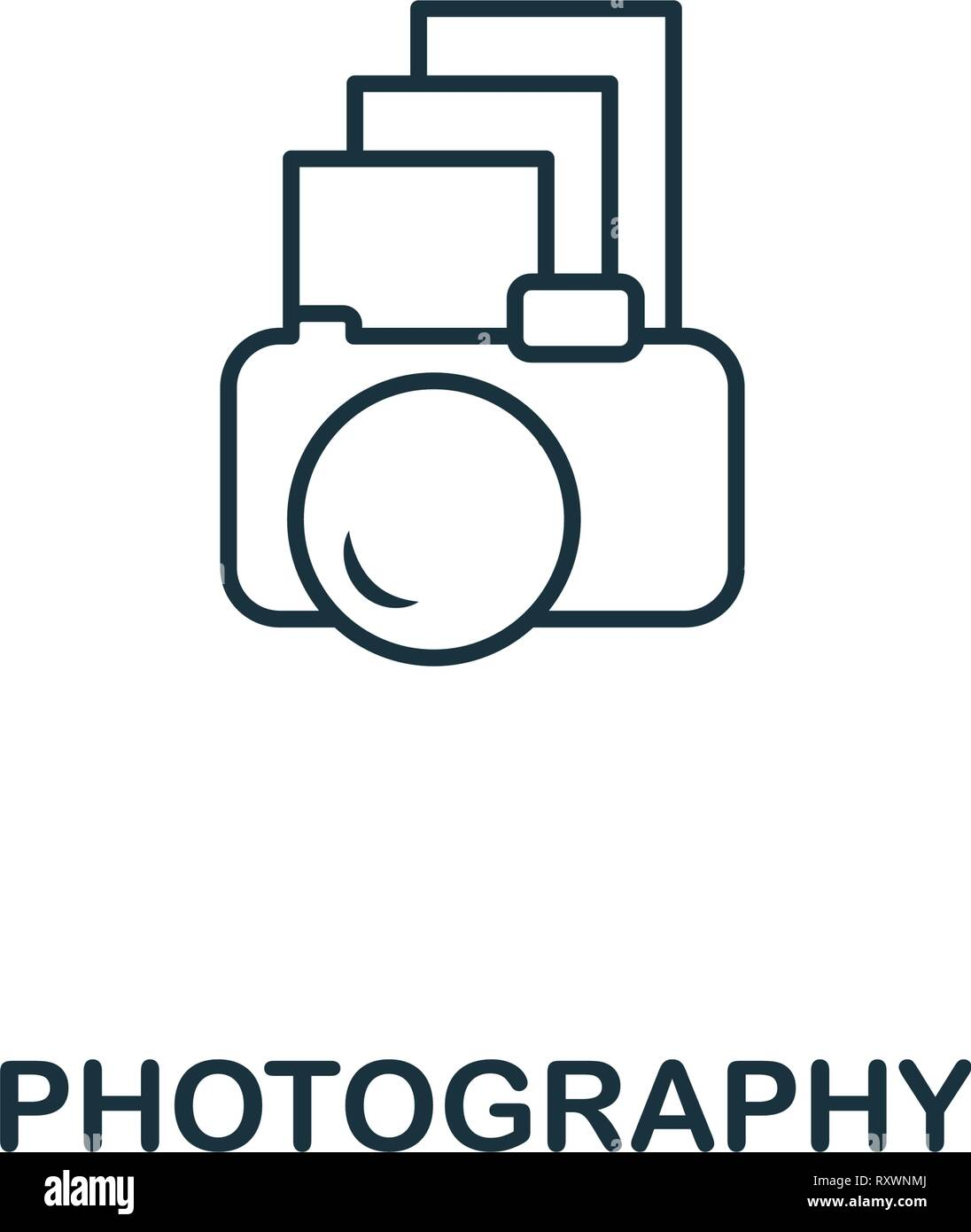 Photography icon. Thin outline style design from design ui and ux icons collection. Creative Photography icon for web design, apps, software, print - Stock Image