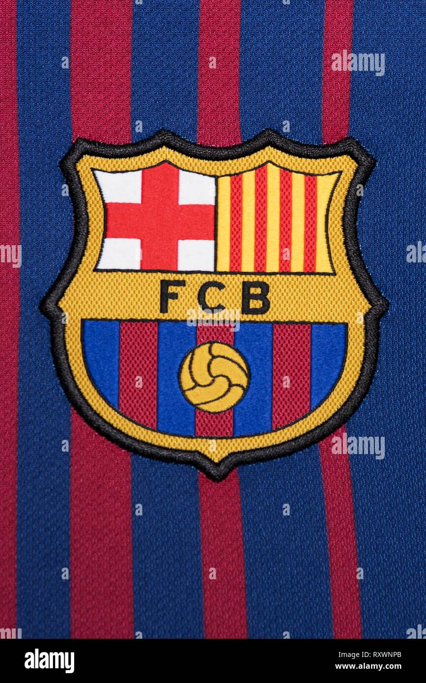 2fc0f7f5a8b Barcelona Football Soccer Shirt Stock Photos   Barcelona Football ...
