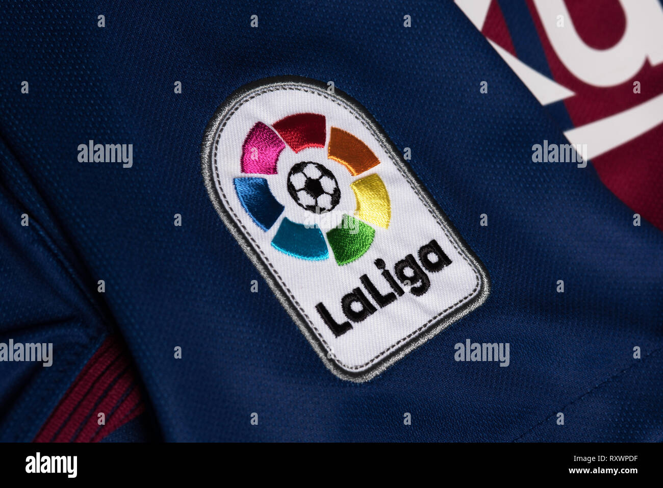 Close up of La Liga badge on an FC Barcelona jersey. - Stock Image