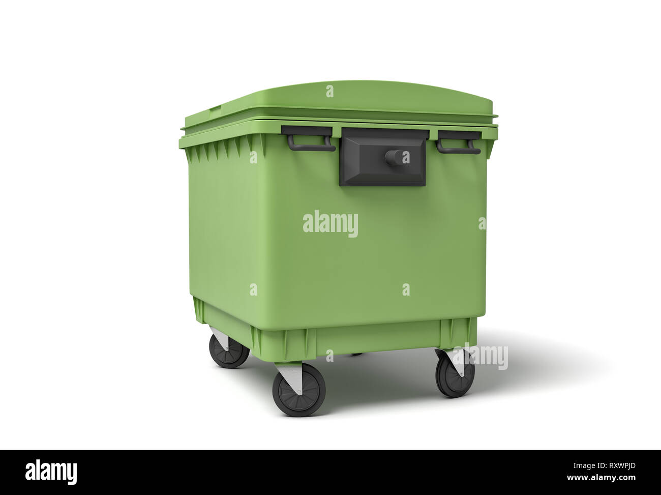 3d rendering of green trash bin isolated on white background - Stock Image