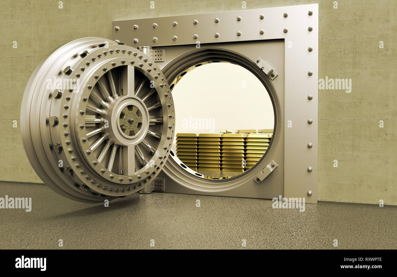 3D rednering of a bank Vault with gold bars inside - Stock Image