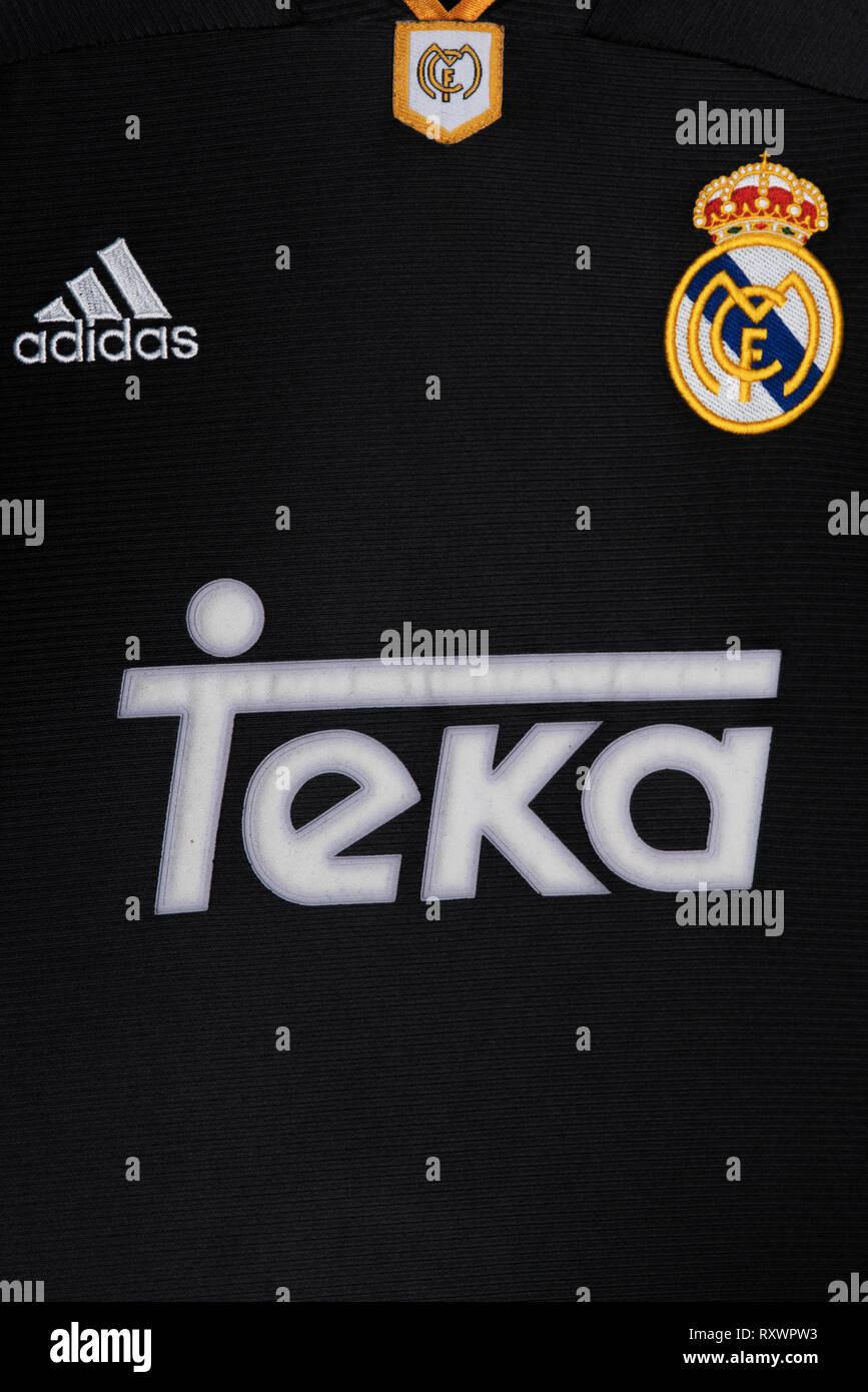 Close up of black Real Madrid Away Kit 1999. - Stock Image