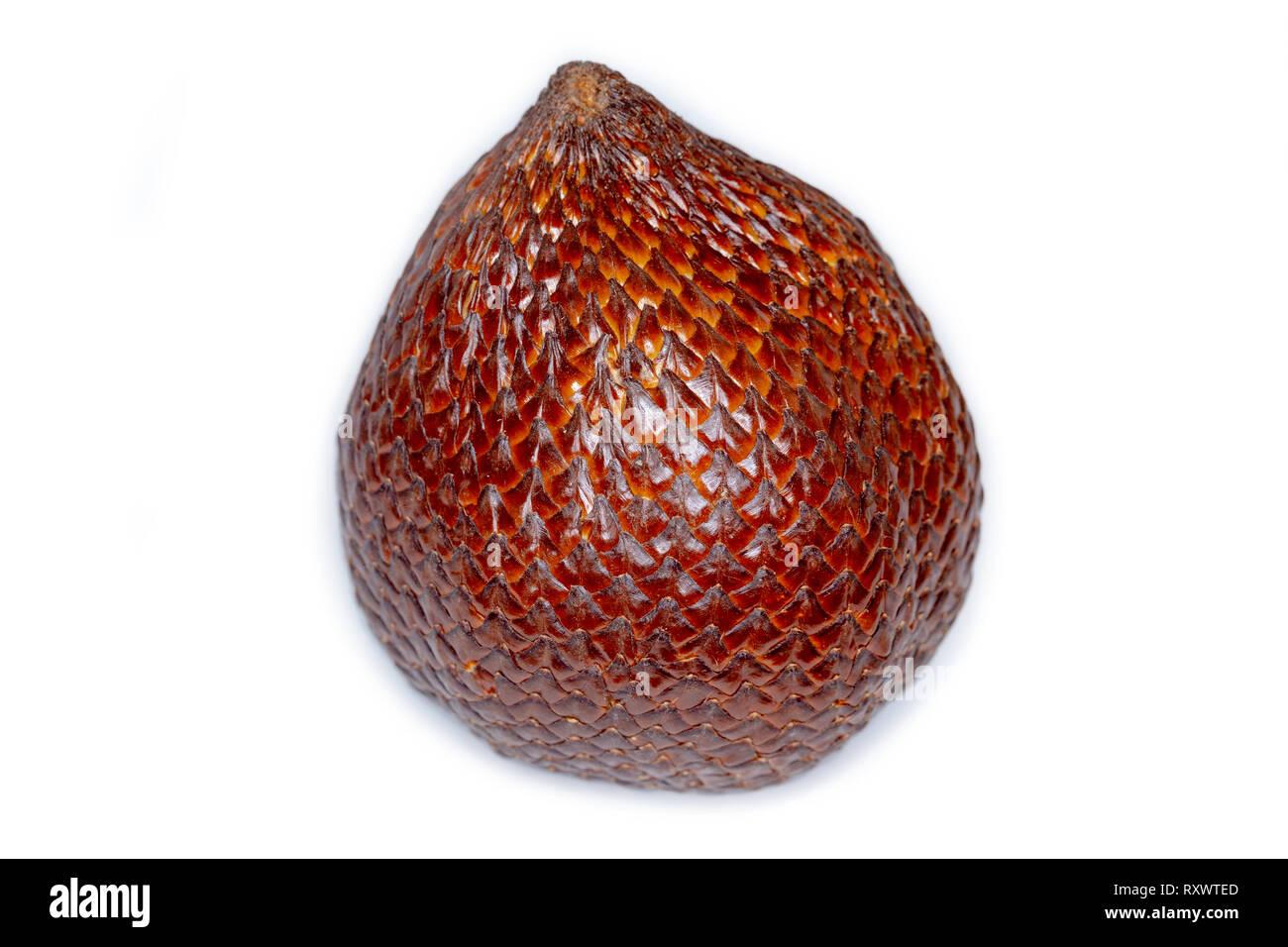 Closeup of salak snake fruit - Salacca Zalacca - isolated on white background - Stock Image