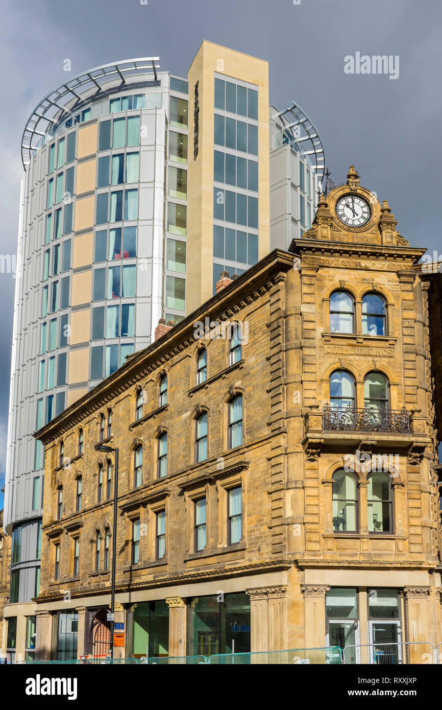 The Hotel Indigo, comprising the former City Buildings and the new Rotunda tower, Manchester, England, UK Stock Photo