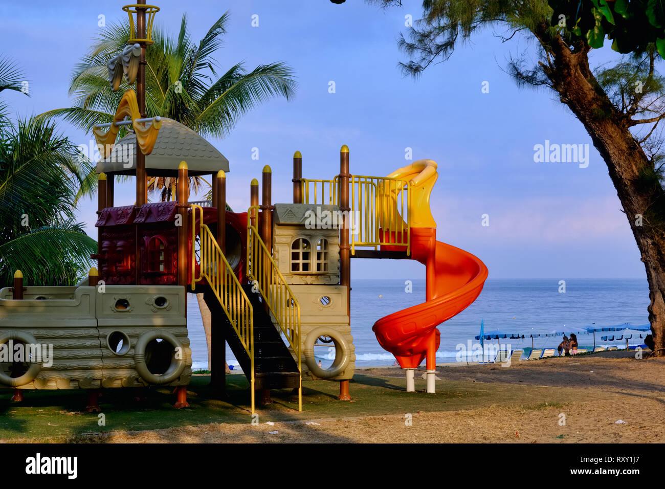 A children's playground at Karon Beach, Phuket, Thailand - Stock Image