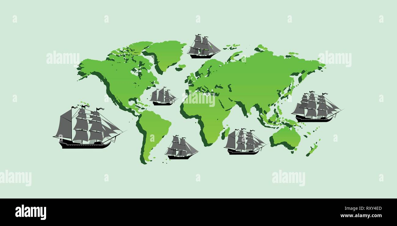 Vector map with ships with separate editable elements. - Stock Vector