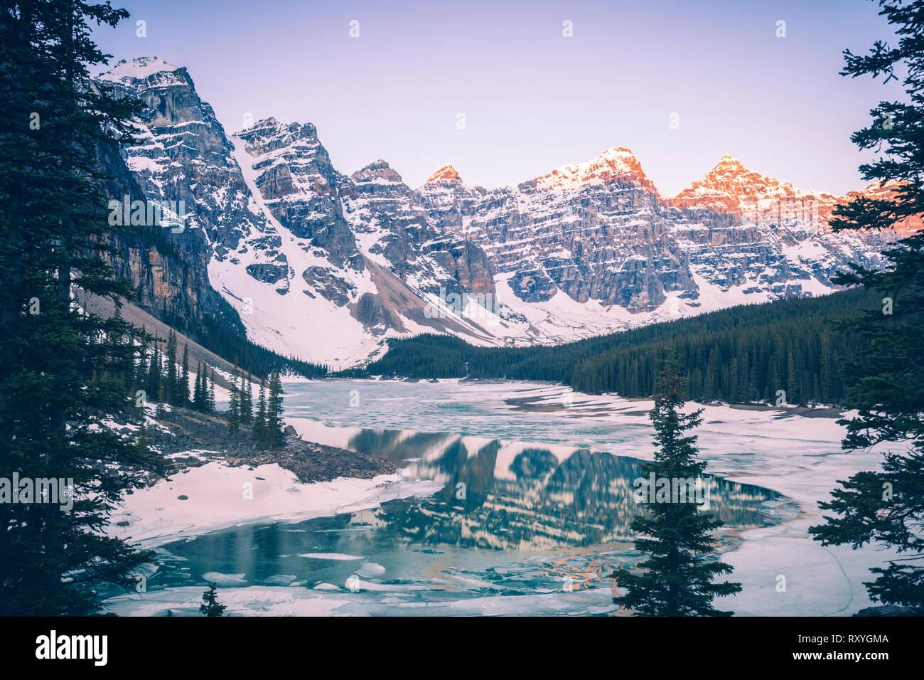 Frozen Moraine Lake In Banff National Park Banff National