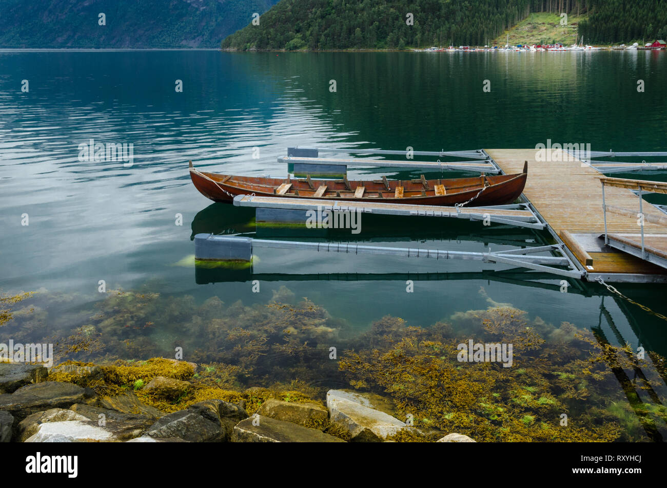 Floating pier in the Norwegian fiord - Stock Image