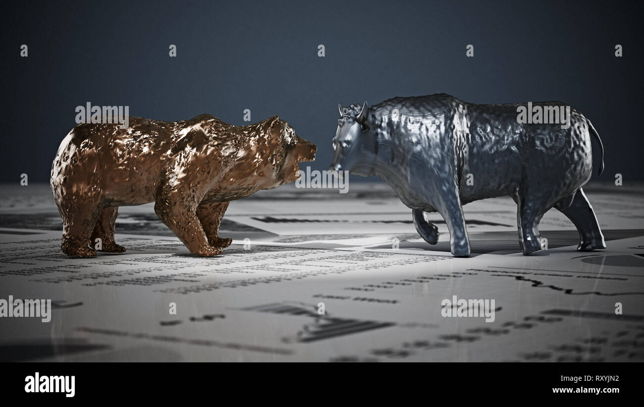 Bear and bull figures on economy newspaper pages. 3D illustration. - Stock Image