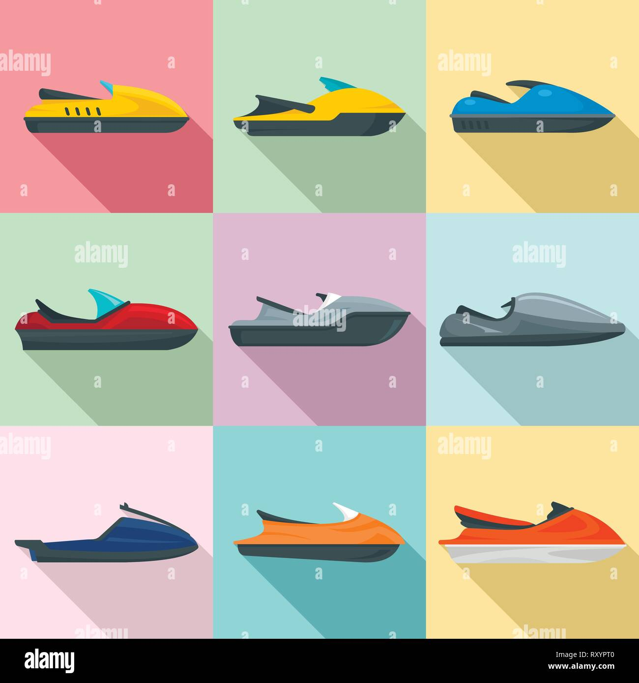 Jet ski icons set. Flat set of jet ski vector icons for web design - Stock Vector