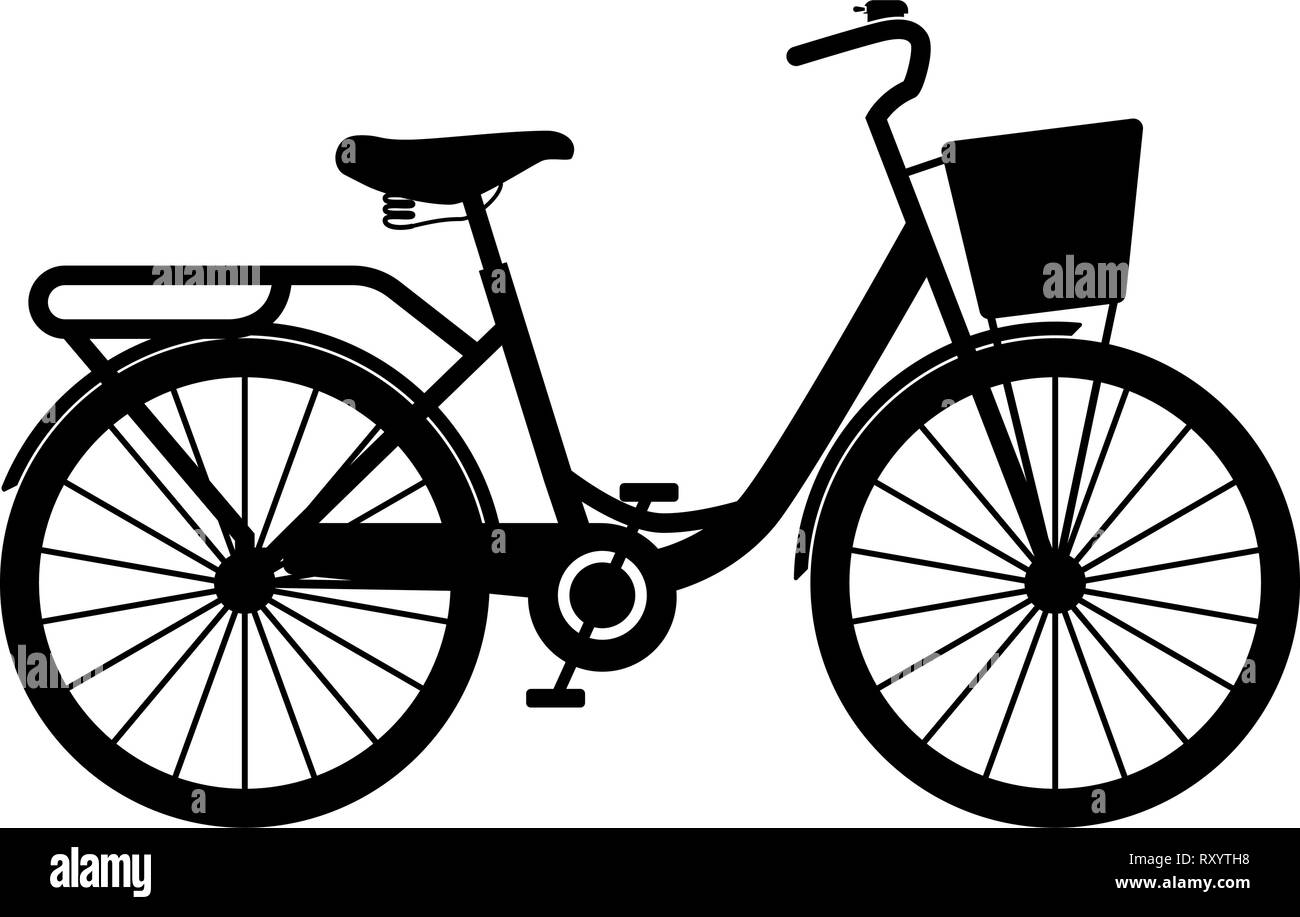 Woman's bicycle with basket Womens beach cruiser bike Vintage bicycle basket ladies road cruising icon black color vector illustration flat style simp - Stock Image