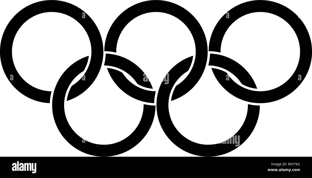 Olympic rings Five Olympic rings icon black color vector illustration flat style simple image - Stock Vector