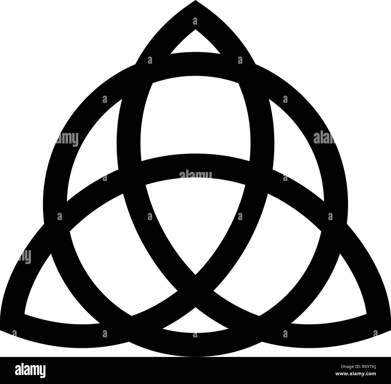 Trikvetr knot with circle Power of three viking symbol tribal for tattoo Trinity knot icon black color vector illustration flat style simple image - Stock Vector