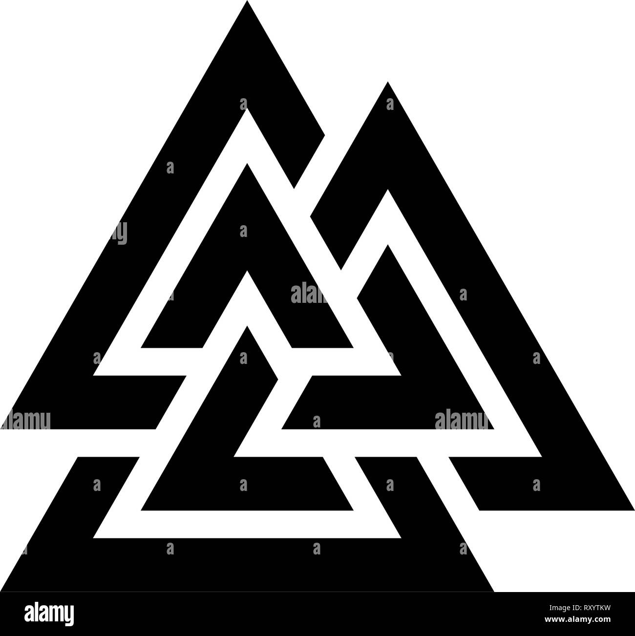 Valknut symbol icon black color vector illustration flat style simple image - Stock Image