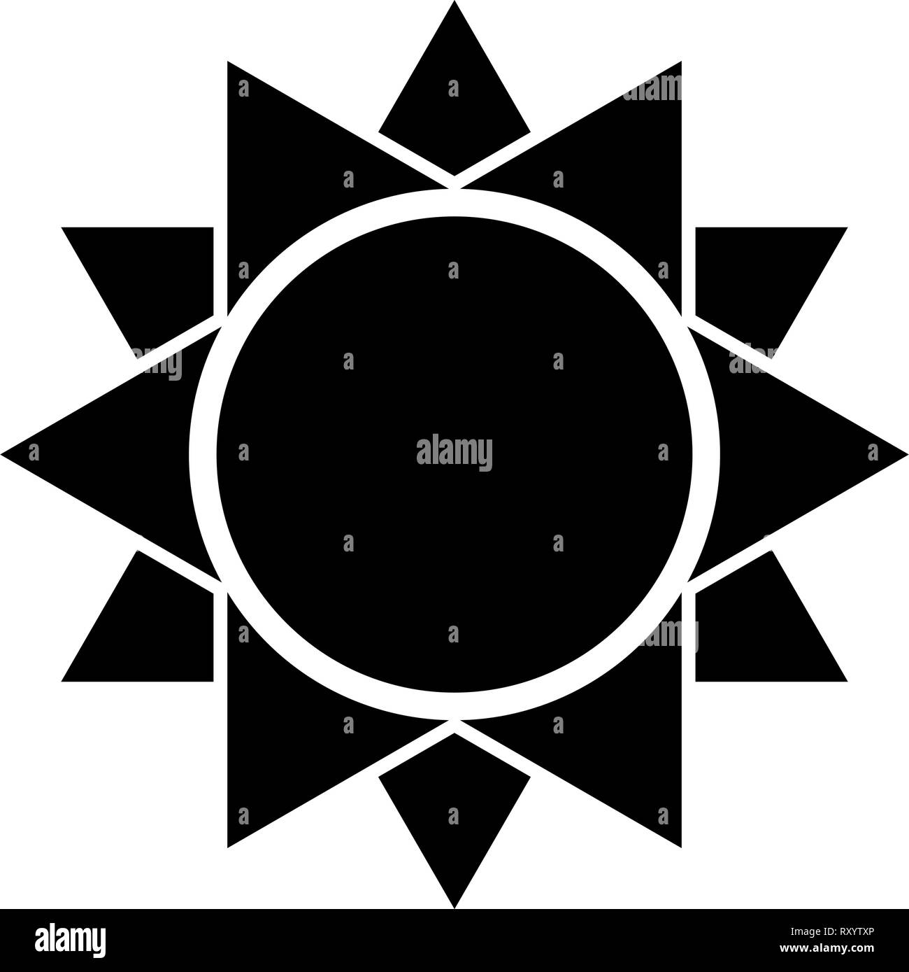 Sun icon black color vector illustration flat style simple image - Stock Vector