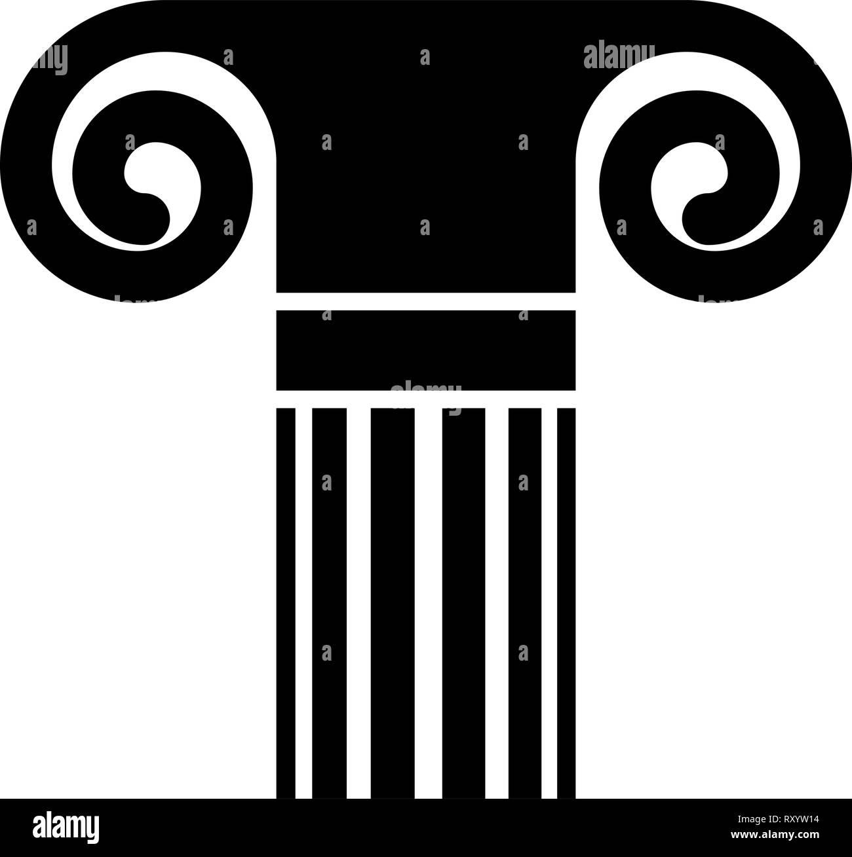 Column ancient style Antique classical column architecture element Pillar Greek roman column icon black color vector illustration flat style simple im Stock Vector