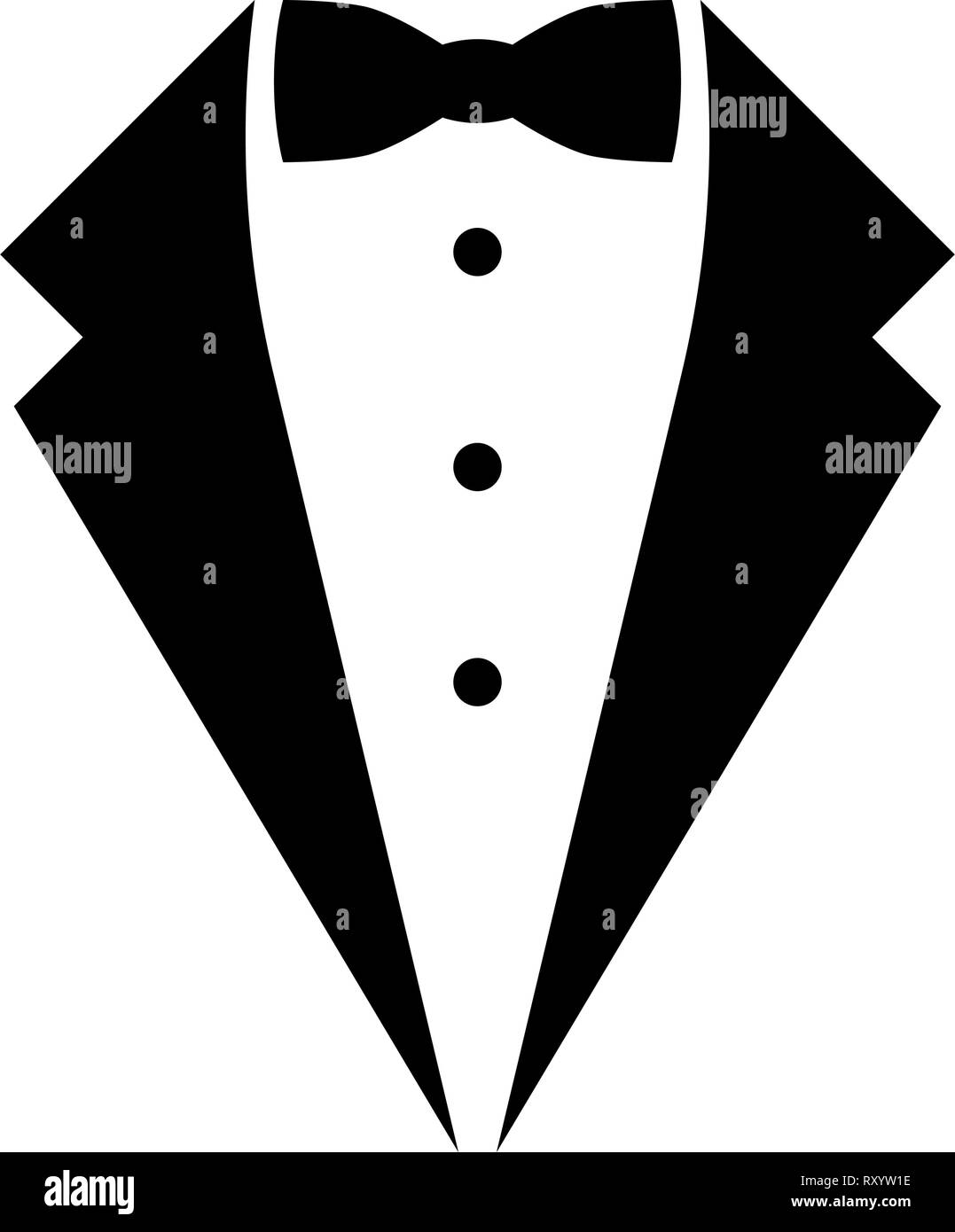 Symbol service dinner jacket bow Tuxedo concept Tux sign Butler gentleman idea Waiter suit icon black color vector illustration flat style simple imag - Stock Image