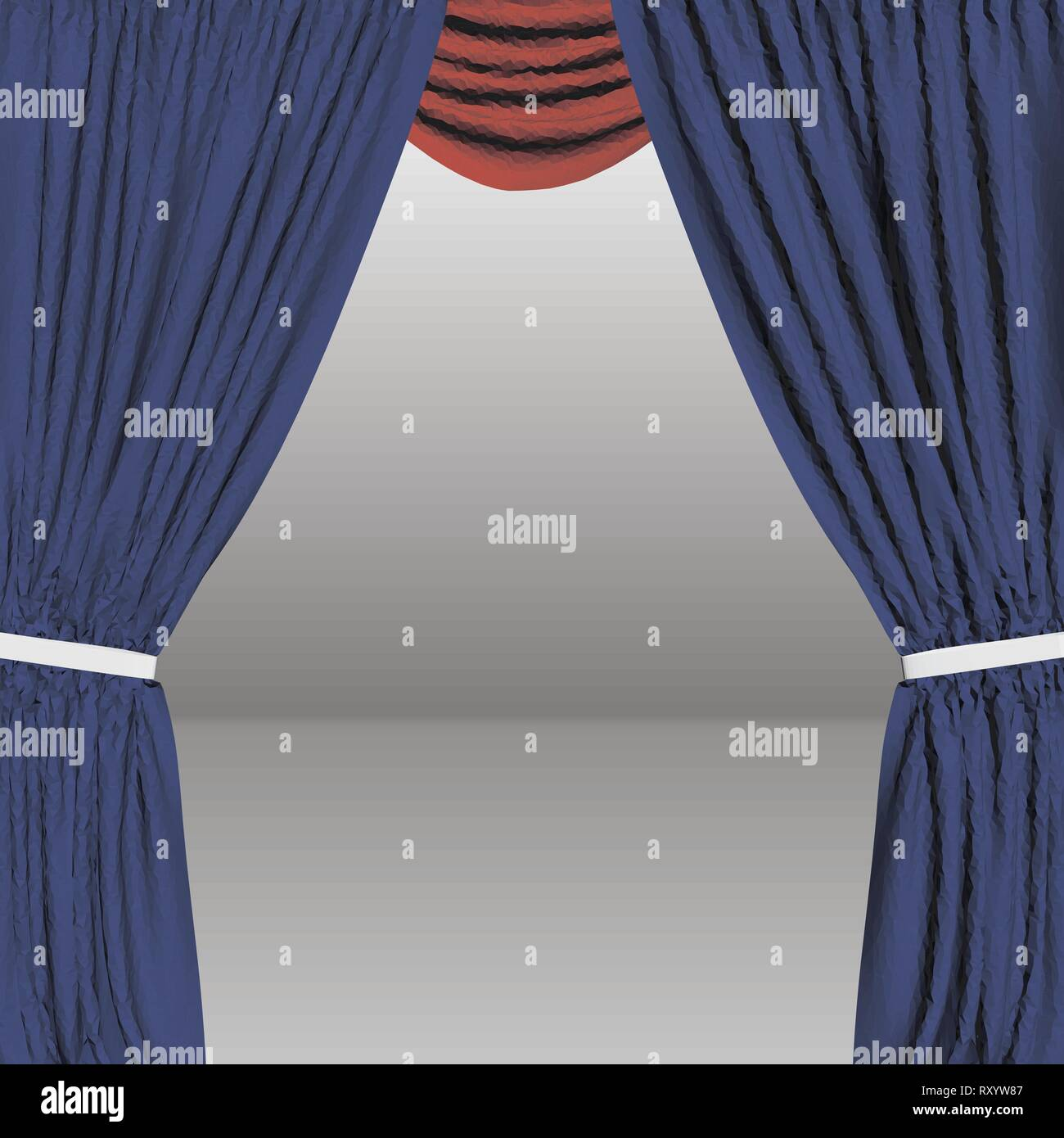 Background with decorative curtains. Polygonal blue curtains. 3D Vector illustration Stock Vector