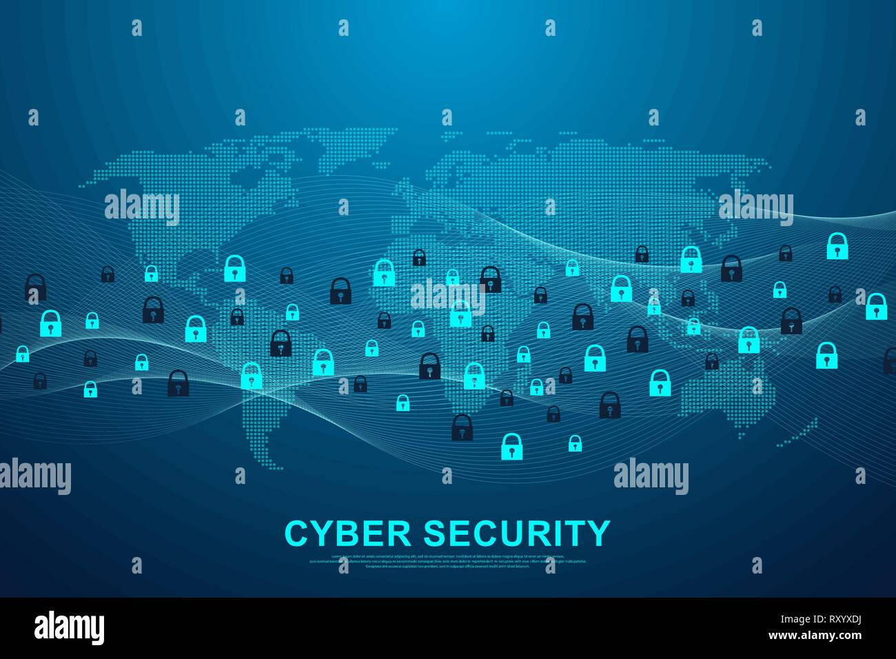 Cyber security concept or information network protection. Data protection concept. Future cyber technology web services, web banner. Vector - Stock Vector