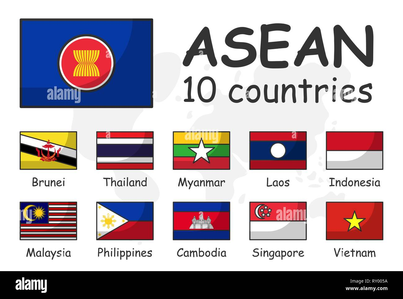 Countries Of Southeast Asia Map.Asean And Membership Flag Association Of Southeast Asian Nations