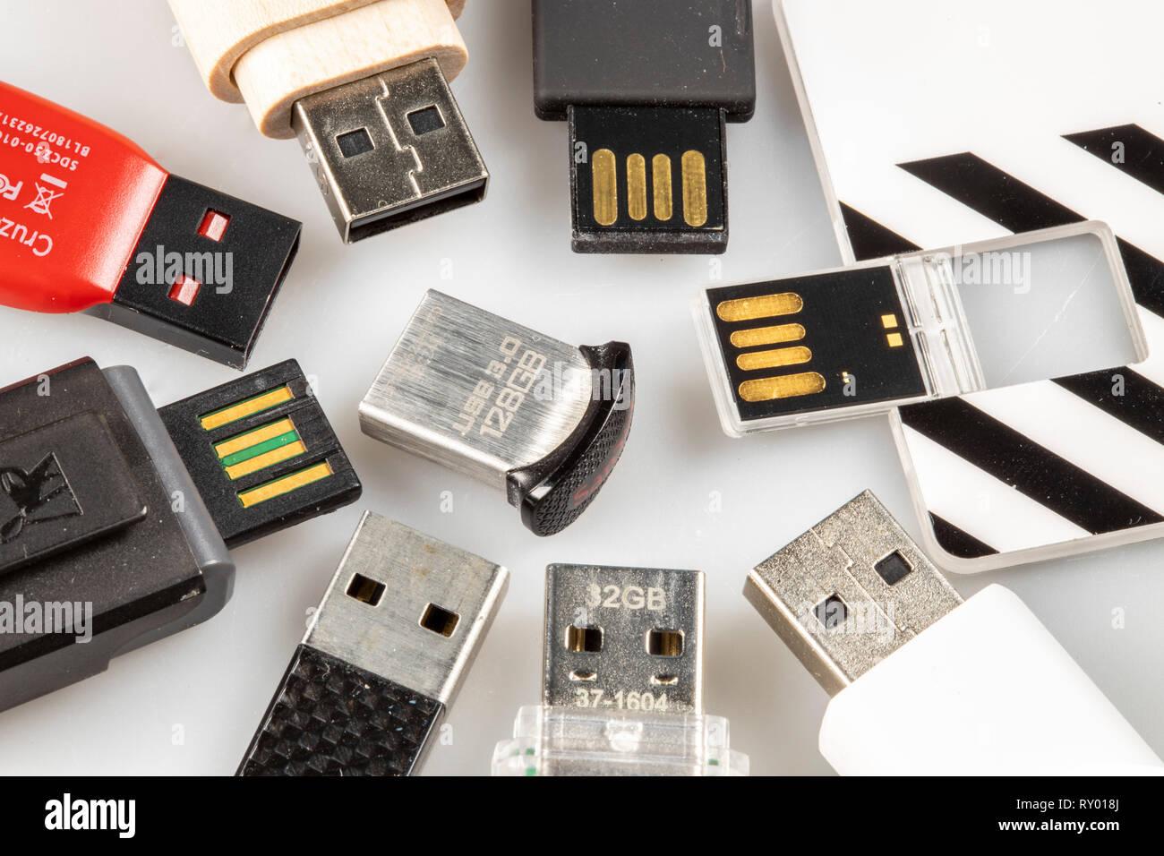 USB memory sticks, various types, sizes, designs, advertising materials, - Stock Image