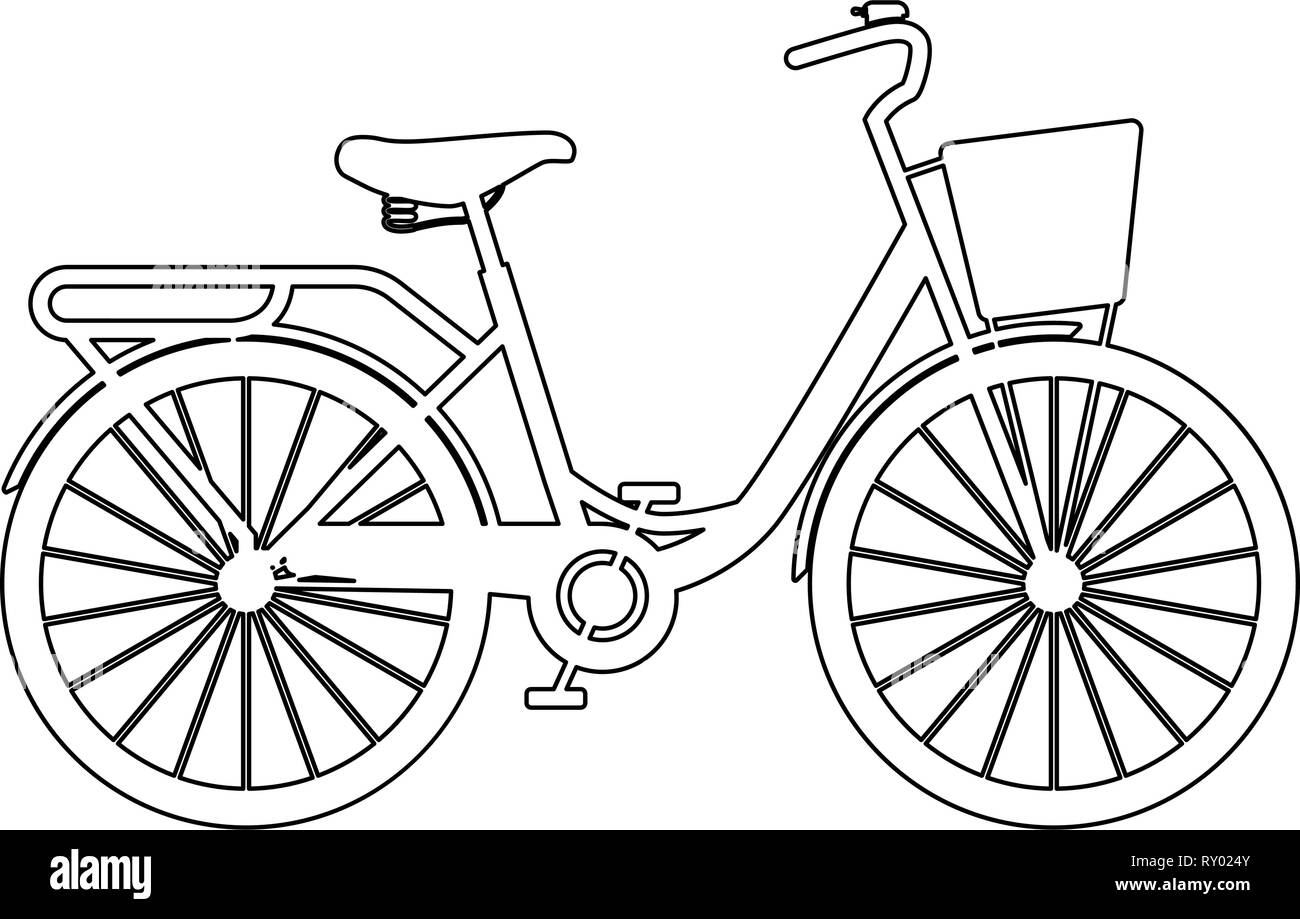 Woman's bicycle with basket Womens beach cruiser bike Vintage bicycle basket ladies road cruising icon black color outline vector illustration flat st - Stock Image