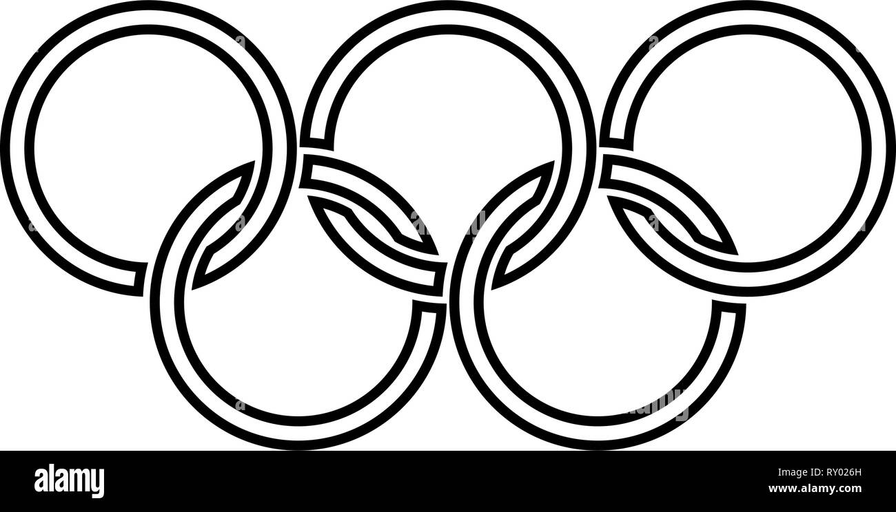 Olympic rings Five Olympic rings icon black color outline vector illustration flat style image Stock Vector