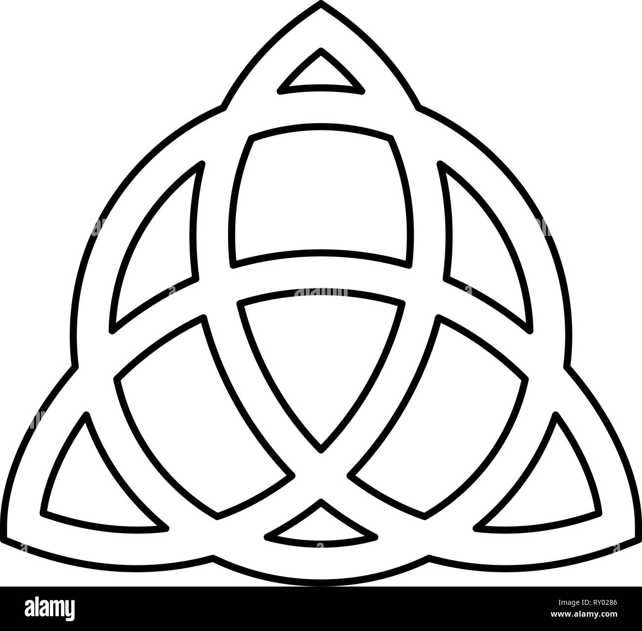 Trikvetr knot with circle Power of three viking symbol tribal for tattoo Trinity knot icon black color outline vector illustration flat style image - Stock Vector