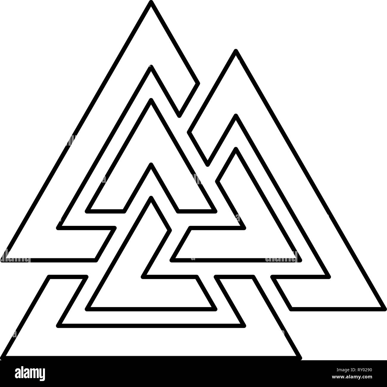 Valknut symbol icon black color outline vector illustration flat style image - Stock Image