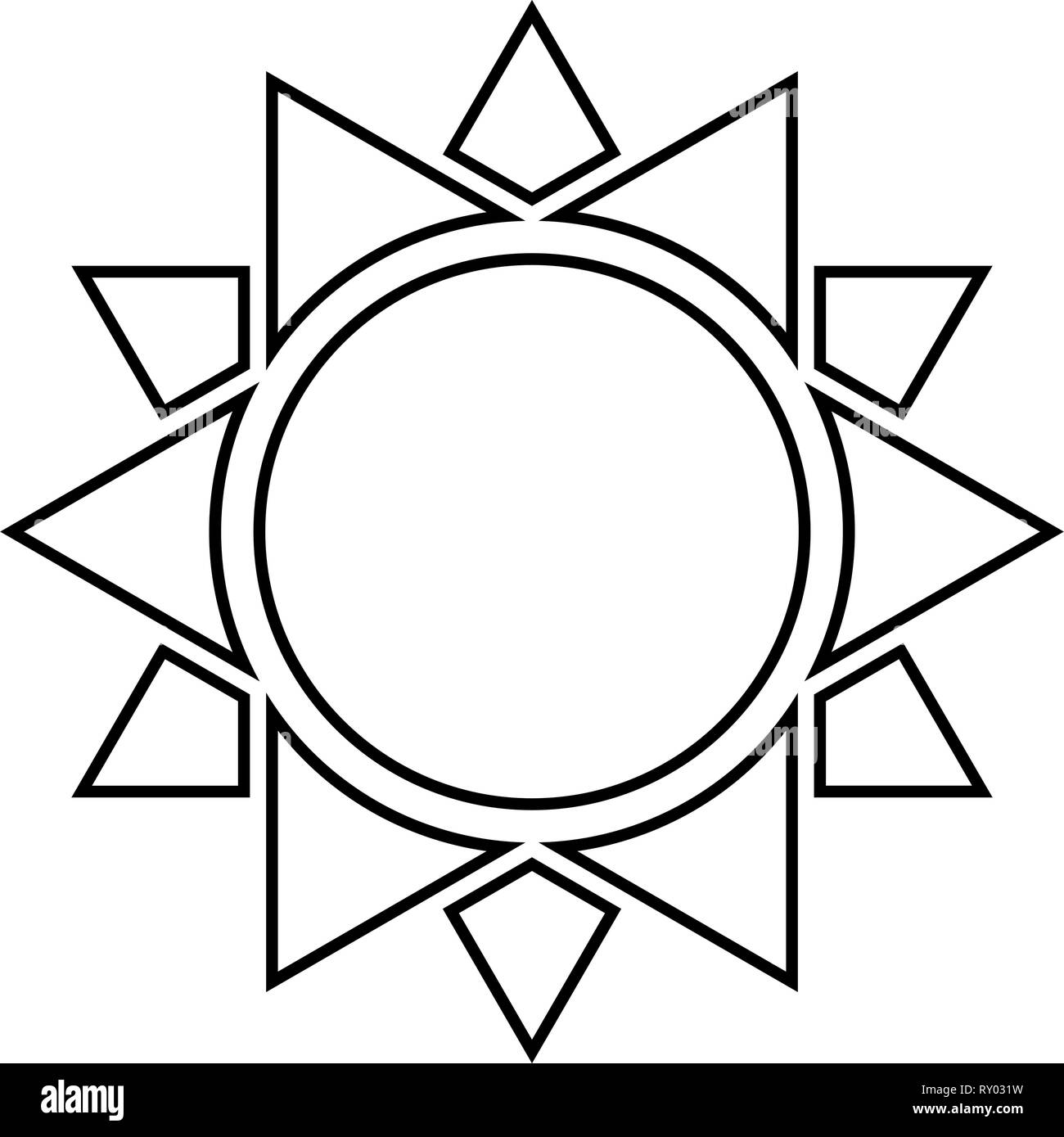 Sun icon black color outline vector illustration flat style image - Stock Vector