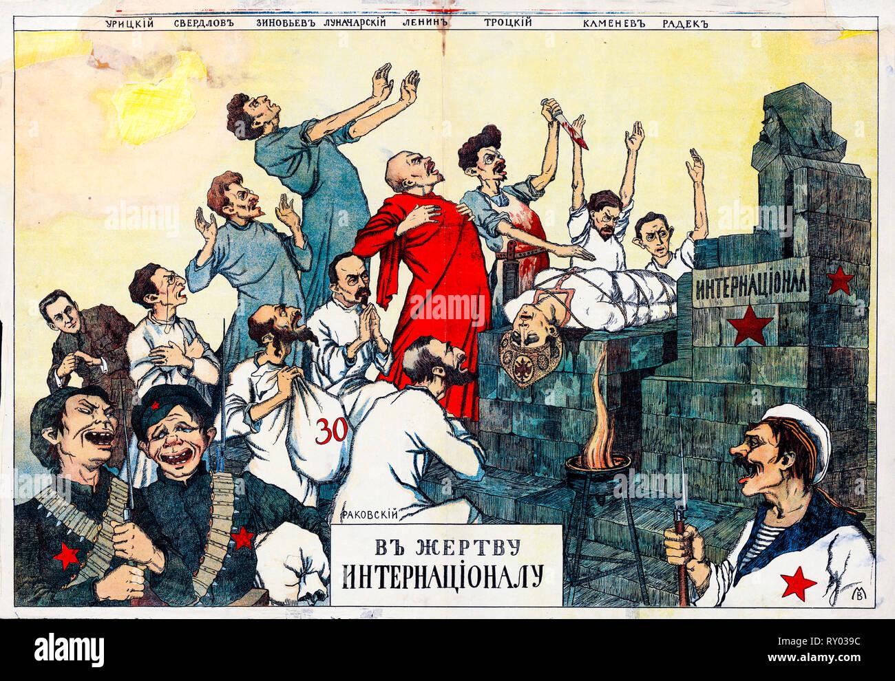 White movement Russian revolution poster, Sacrifice to the International, 1918 - Stock Image