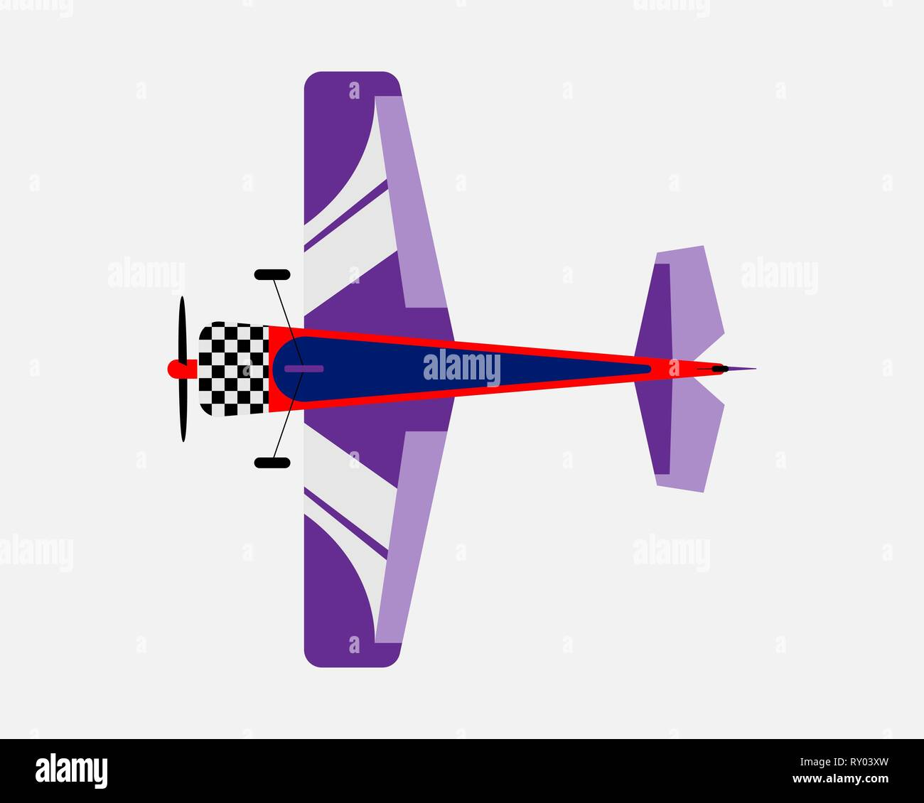 Airplane with a propeller. Bottom view. Vector illustration. - Stock Vector
