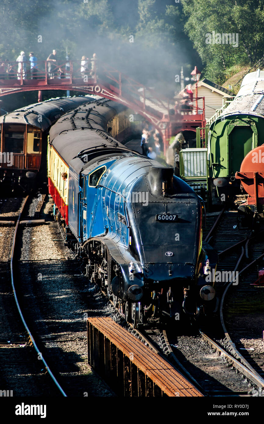 A4 no 60007 Sir Nigel Gresley at Goathland station on the North Yorkshire Steam Railway - Stock Image