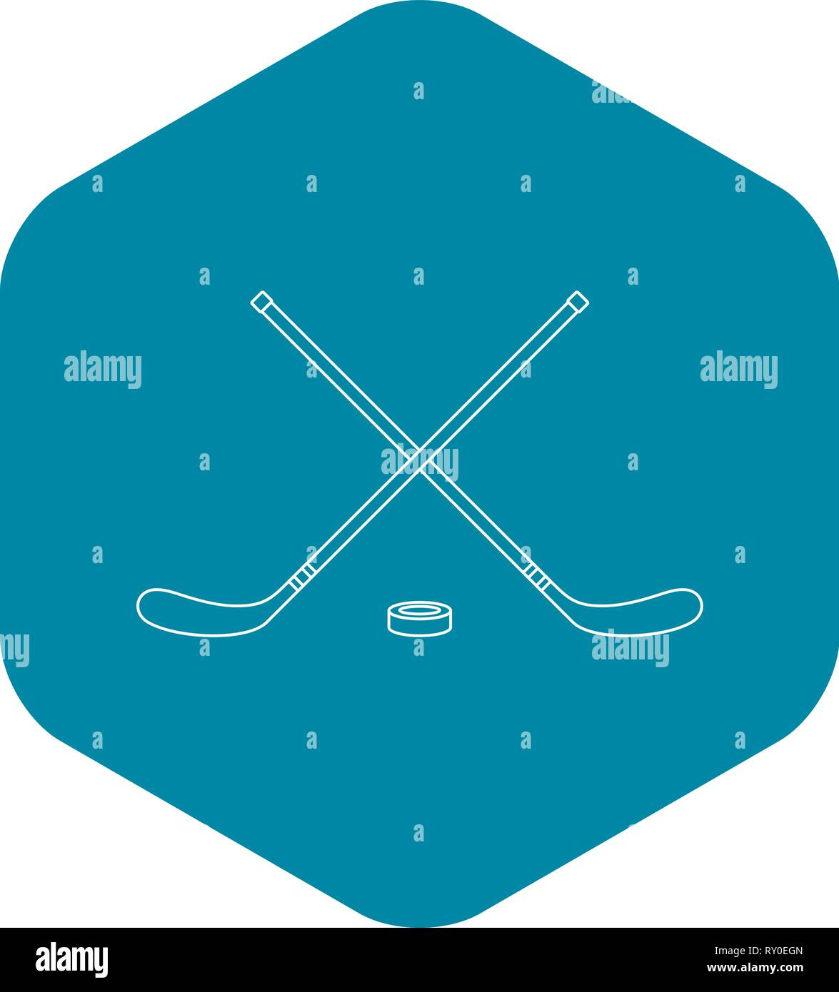 Hockey icon, outline style - Stock Vector