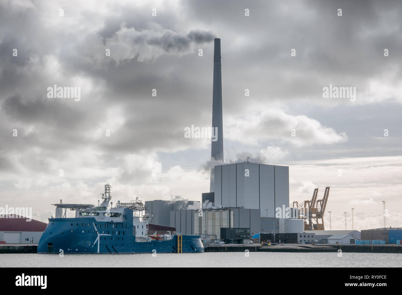 Wind power Supply vessels in Esbjerg harbor, Denmark - Stock Image