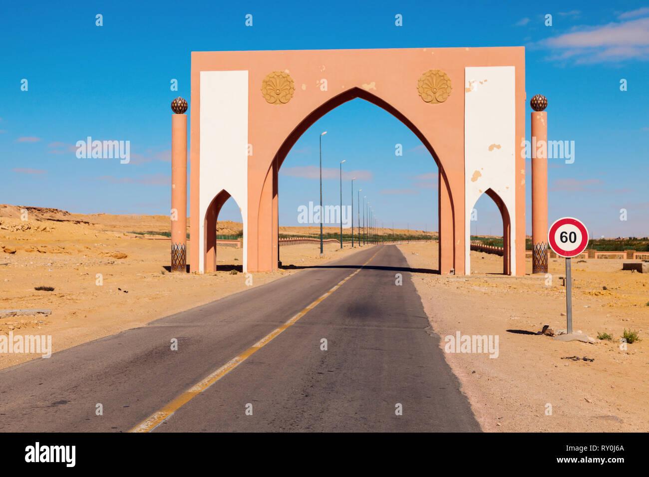 Laayoune city gate. Laayoune, Western Sahara, Morocco. Stock Photo