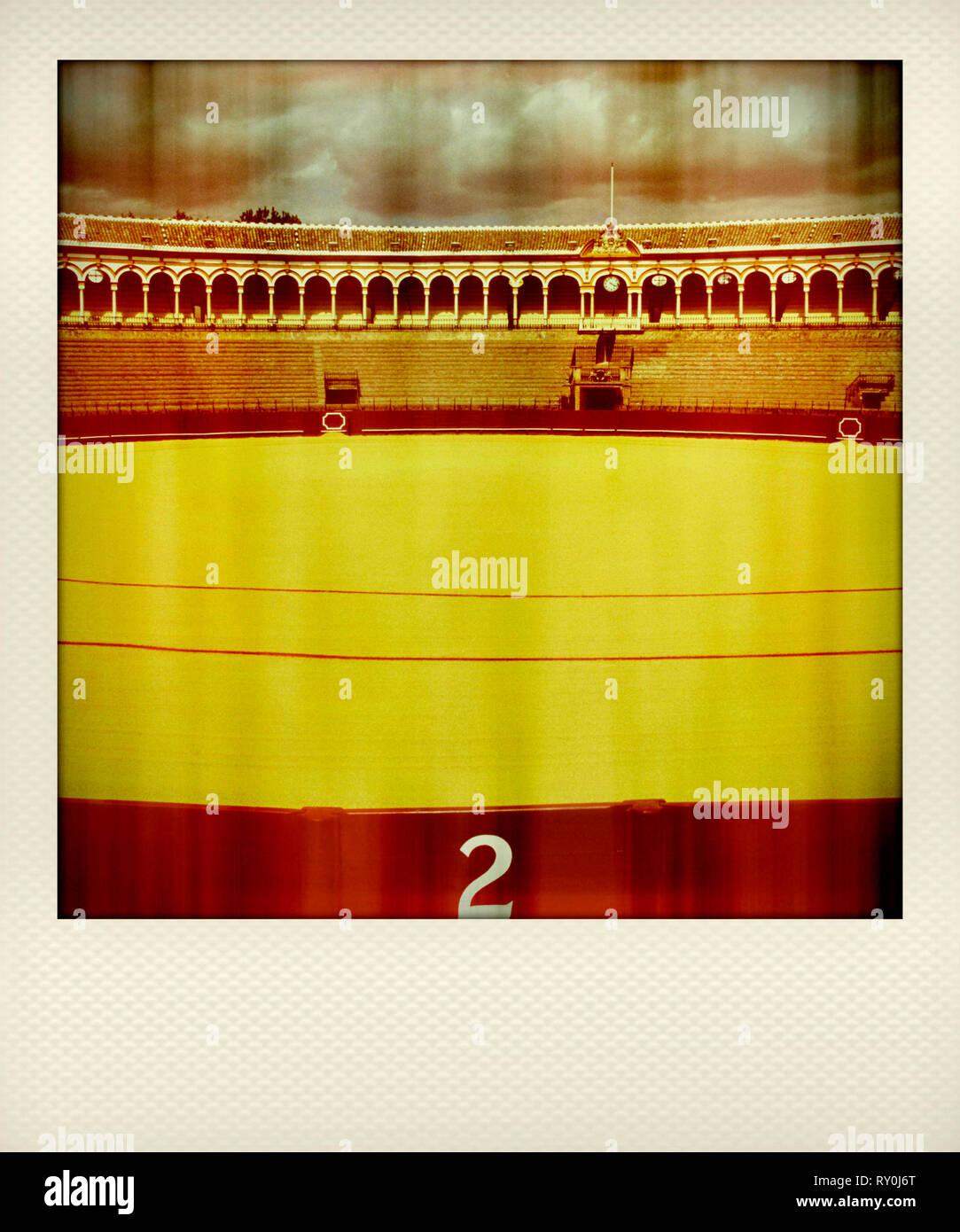 Polaroid effect, Plaza de Toros de la Real Maestranza de Caballería de Sevilla - famous bullring in Seville, Spain, Europe - Stock Image