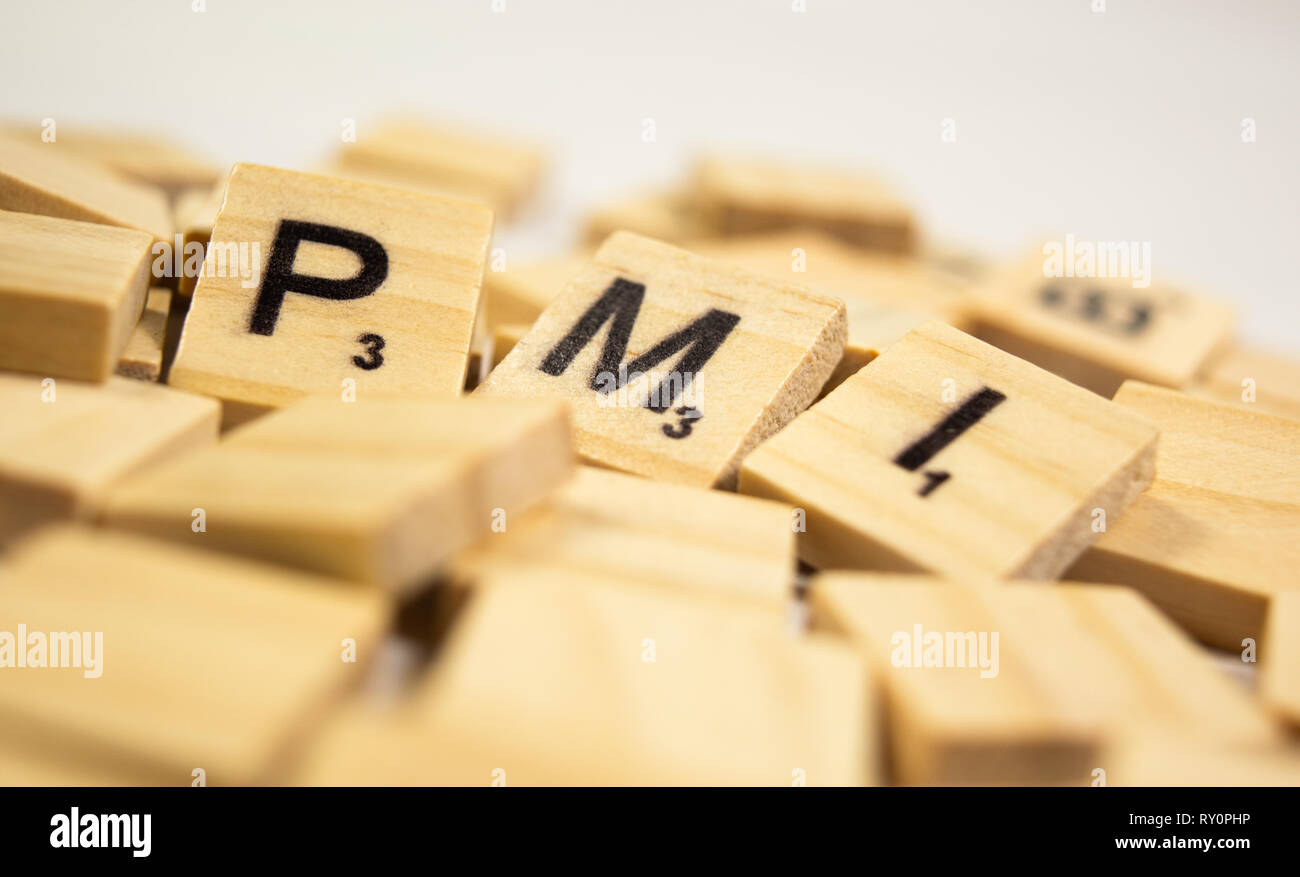 Maski,Karnataka,India - March 07,2019 : PMI or Purchasing Managers Index concept on wooden block letters - Stock Image